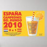 España 2010 World Champions Futbol Póster