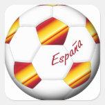ESPAÑA Balón de Fútbol colores de bandera española Pegatina Cuadrada