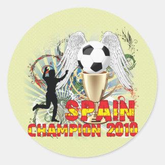 España Campeón Del Mundo Pegatina Redonda