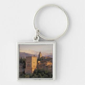 España, Granada, Andalucía Alhambra, Llavero Cuadrado Plateado