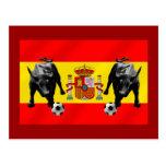 España La Furia Roja futbol Toro Flag of Spain Postcard