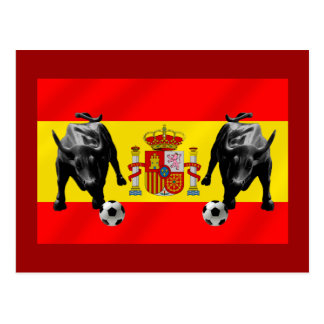 España La Furia Roja futbol Toro Flag of Spain Postcard