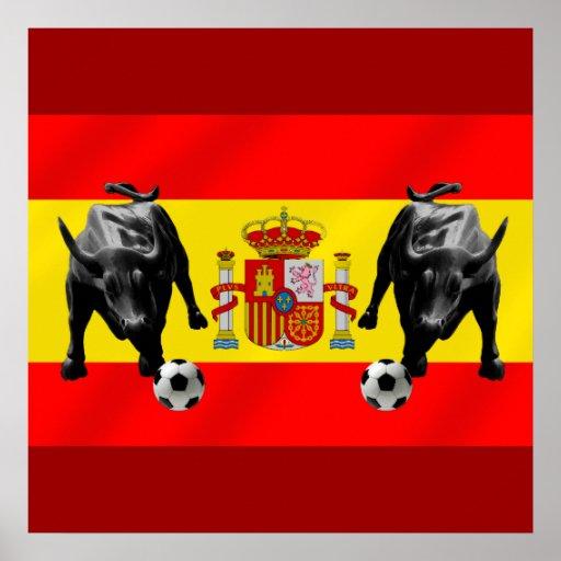 España La Furia Roja futbol Toro Flag of Spain Poster