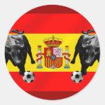 España La Furia Roja futbol Toro Flag of Spain Round Stickers