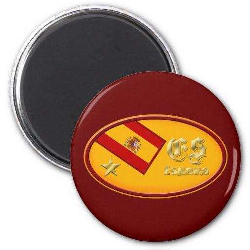 España logo 2010 One star Spain flag  oval emblem 2 Inch Round Magnet