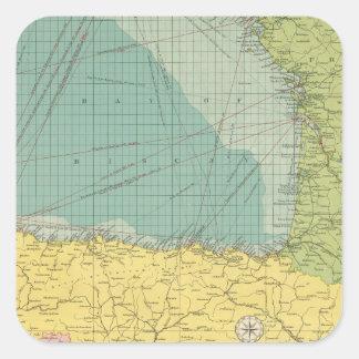 España, Portugal, Francia occidental Calcomania Cuadradas