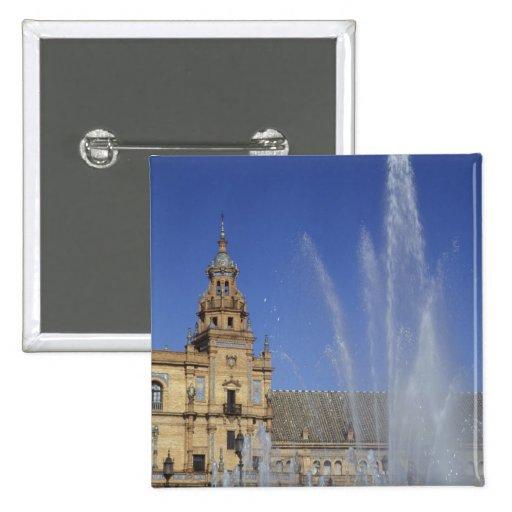 España, Sevilla, fuente de Andalucía y adornado Pin Cuadrada 5 Cm