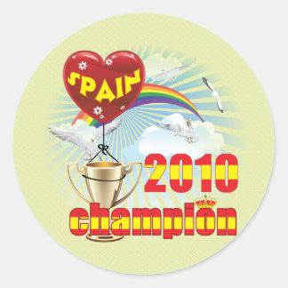 España trofeo de 2010 campeones del mundial pegatina redonda
