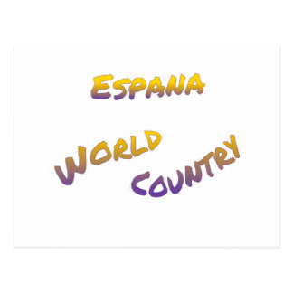 Espana world country, colorful text art postcard