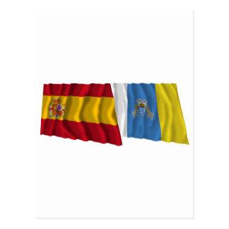 España y islas Canarias que agitan banderas Tarjeta Postal