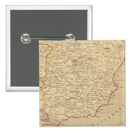 España y Portugal 1640 un 1840 Pin Cuadrada 5 Cm