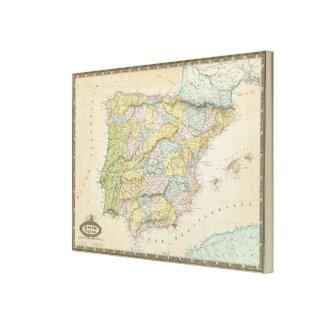 España y Portugal Impresión En Lienzo