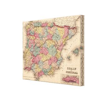 España y Portugal Impresión En Lienzo Estirada