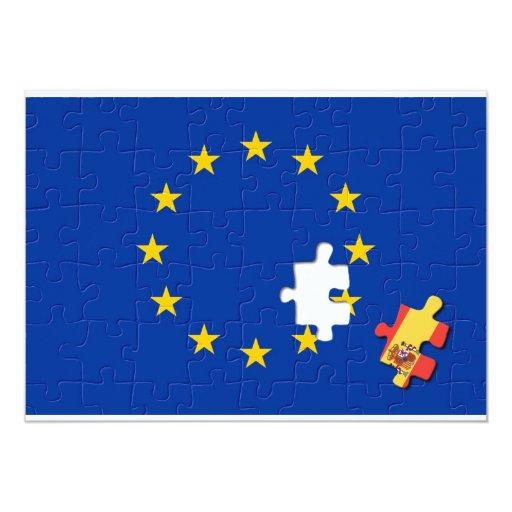"""España y unión europea invitación 5"""" x 7"""""""