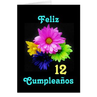 Español: ¡12 anos! Neón de los Margaritas - B-día Tarjeta De Felicitación