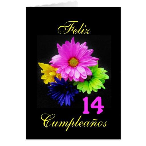 Español: ¡14 anos! Neón de los Margaritas - B-día Felicitaciones