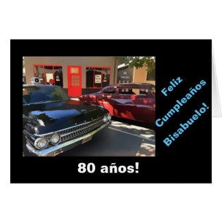 Español: 80.o cumpleaños del bisabuelo tarjeta de felicitación