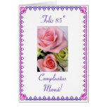 Español: 85 anos/rosas del cumpleaños tarjeta