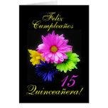 Español: B-día de Quinceanera 15 y.o. Tarjeta De Felicitación