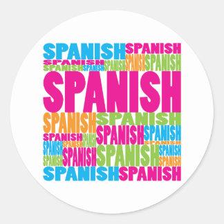 Español colorido pegatina redonda
