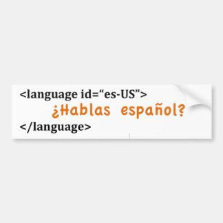 ¿Español de Hablas del ¿? Pegatina Para Auto