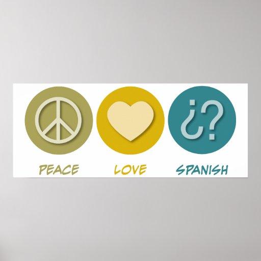 Español del amor de la paz póster