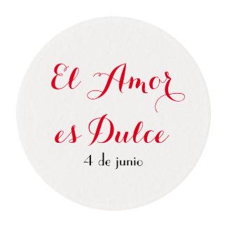 Español del EL Amor es Dulce- que hiela los Obleas Para Galletas