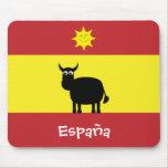 Español divertido Bull y bandera de Sun España Tapetes De Ratón
