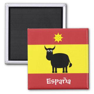Español divertido Bull y imán de la bandera de Sun