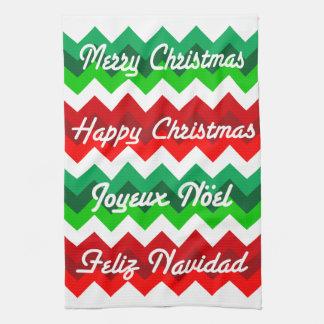 Español francés-inglés de las Felices Navidad de Toalla De Mano