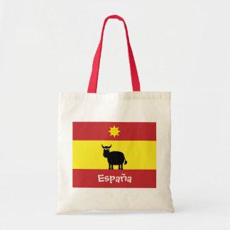 Español lindo Bull, bandera y Sun sonriente