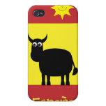 Español lindo Bull, Sun y bandera iPhone 4/4S Funda