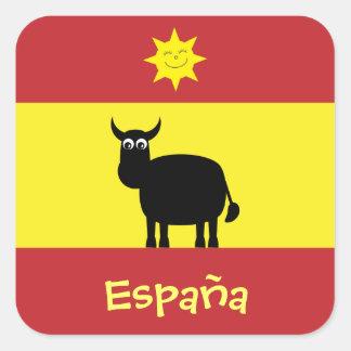 Español lindo Bull, Sun y bandera Pegatina Cuadrada