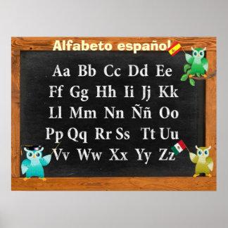 Español lindo de profesor Owl Buho Alfabeto Impresiones