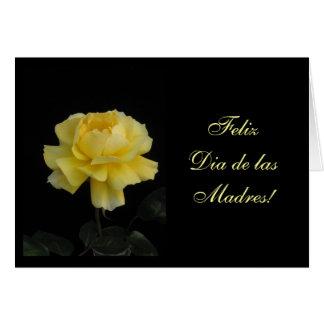 Español: Mamá del una de para del amarilla de Rosa Tarjeta De Felicitación