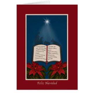 Español, mensaje abierto del navidad de la biblia tarjetas