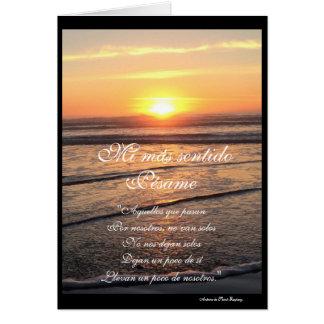 Español: poema Pesame/condolencia de puesta de sol Tarjeta De Felicitación