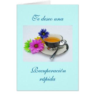 Español: Recuperación- taza de té/consigue bien Tarjeta De Felicitación