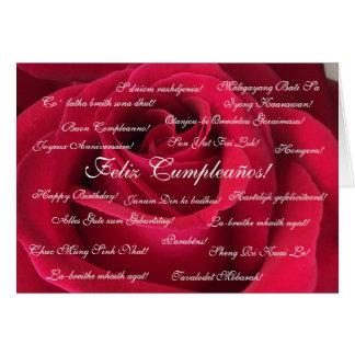 Español: Roja/cumpleaños de Cumpleanos Rosa Tarjeta De Felicitación