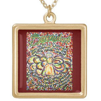 Español Serenity Prayer Angel Charm Necklace