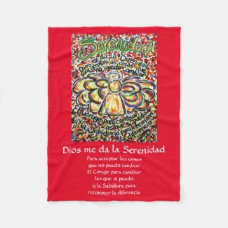 Español Serenity Prayer Poem Angel Fleece Blanket