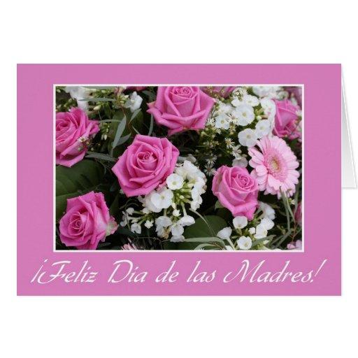 Español subió rosa del ramo de la tarjeta del día