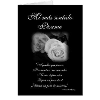 Español tarjeta de condolencia de Pesame B W del