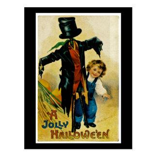 Espantapájaros alegre de Halloween Postal