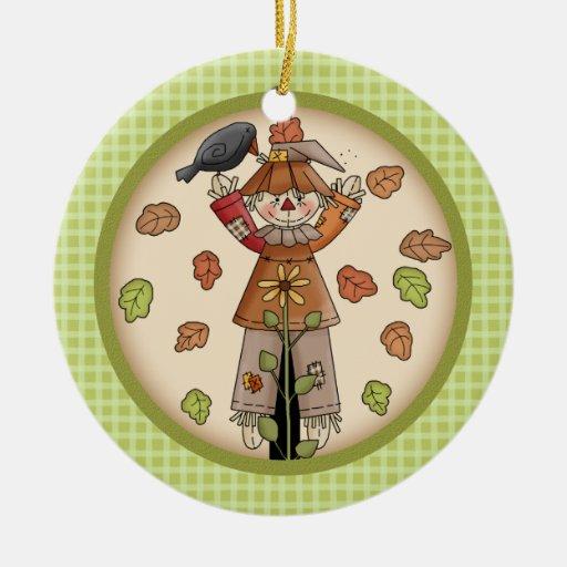 Espantapájaros de la caída/del otoño en la tela adorno navideño redondo de cerámica