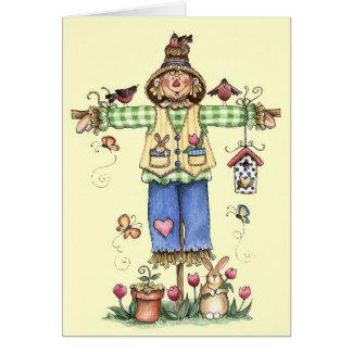 Espantapájaros de la primavera - tarjeta de felici