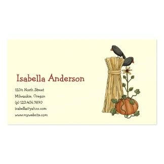 Espantapájaros del otoño · Cuervo y calabaza Tarjetas De Visita