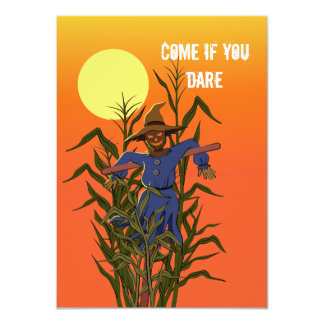 Espantapájaros en un campo de maíz invitación 11,4 x 15,8 cm