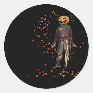Espantapájaros Jack en Halloween negro Pegatina Redonda