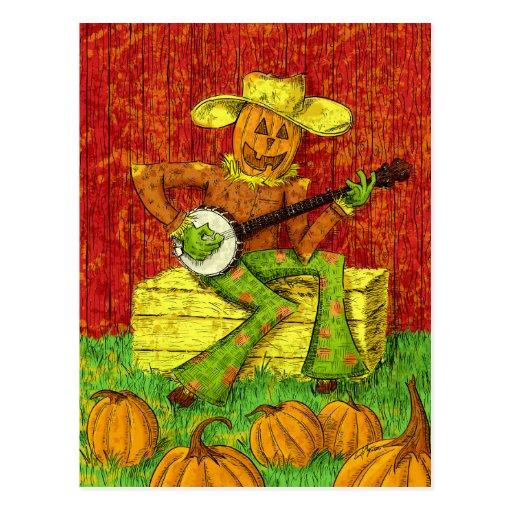 Espantapájaros que juega la pintura del banjo postal